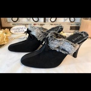 ANN KLEIN Suede Mules Faux Fur Made In Italy 8M